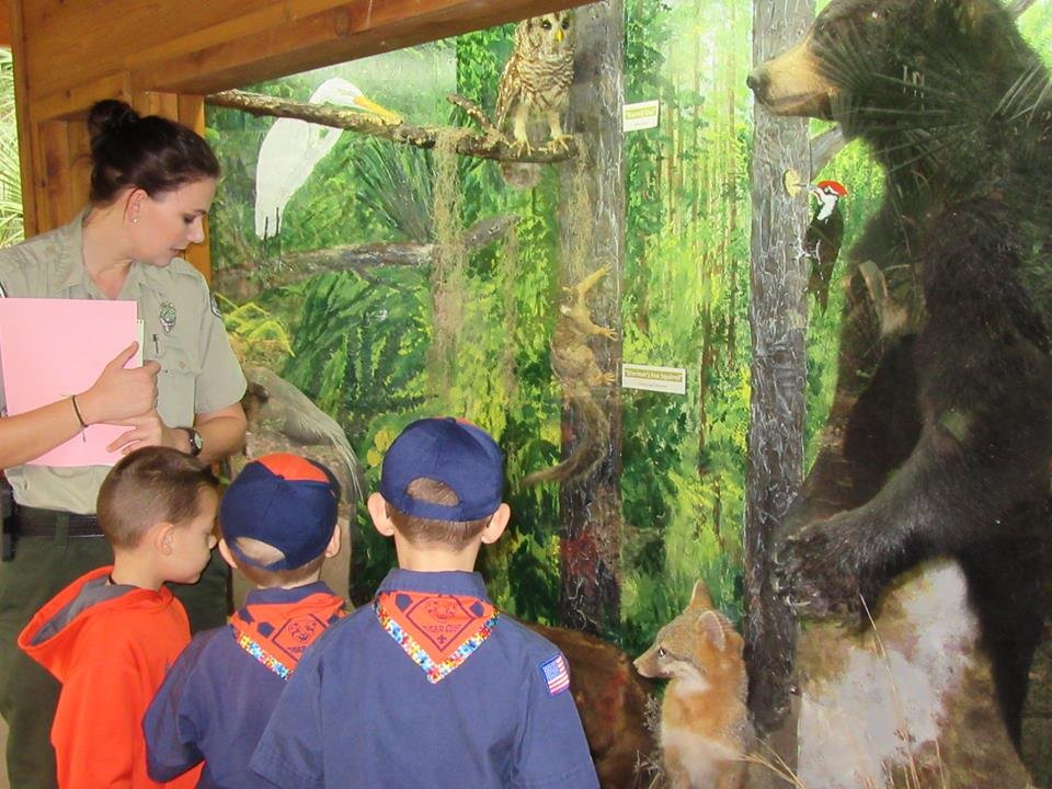 Park ranger with Boy Scouts at Nature Center