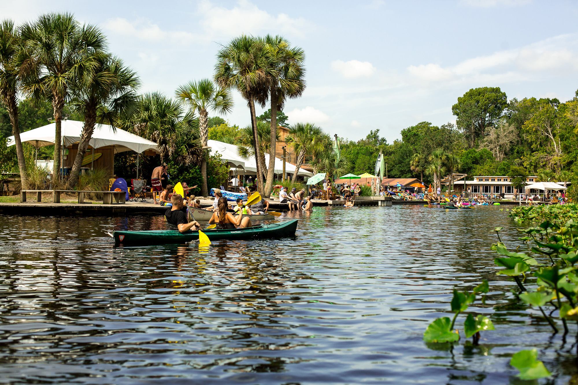 A view of the shore, where the kayaks and canoes are rented. Crowds get really busy during the summer and warmer months.