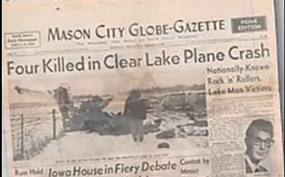 Mason City newspaper front page headline covering the tragic crash