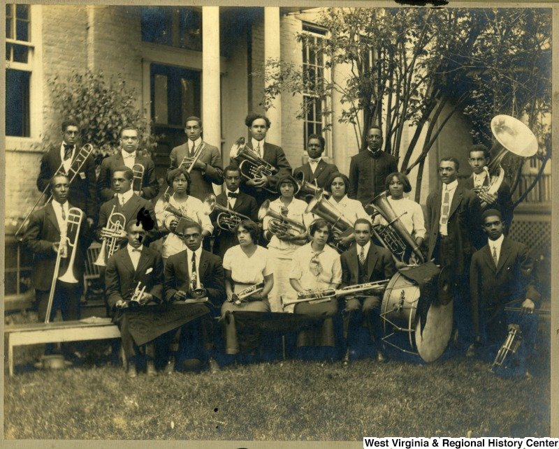 Group portrait of the Storer College band. Photo circa 1914, courtesy of West Virginia and Regional History Center, WVU Libraries.