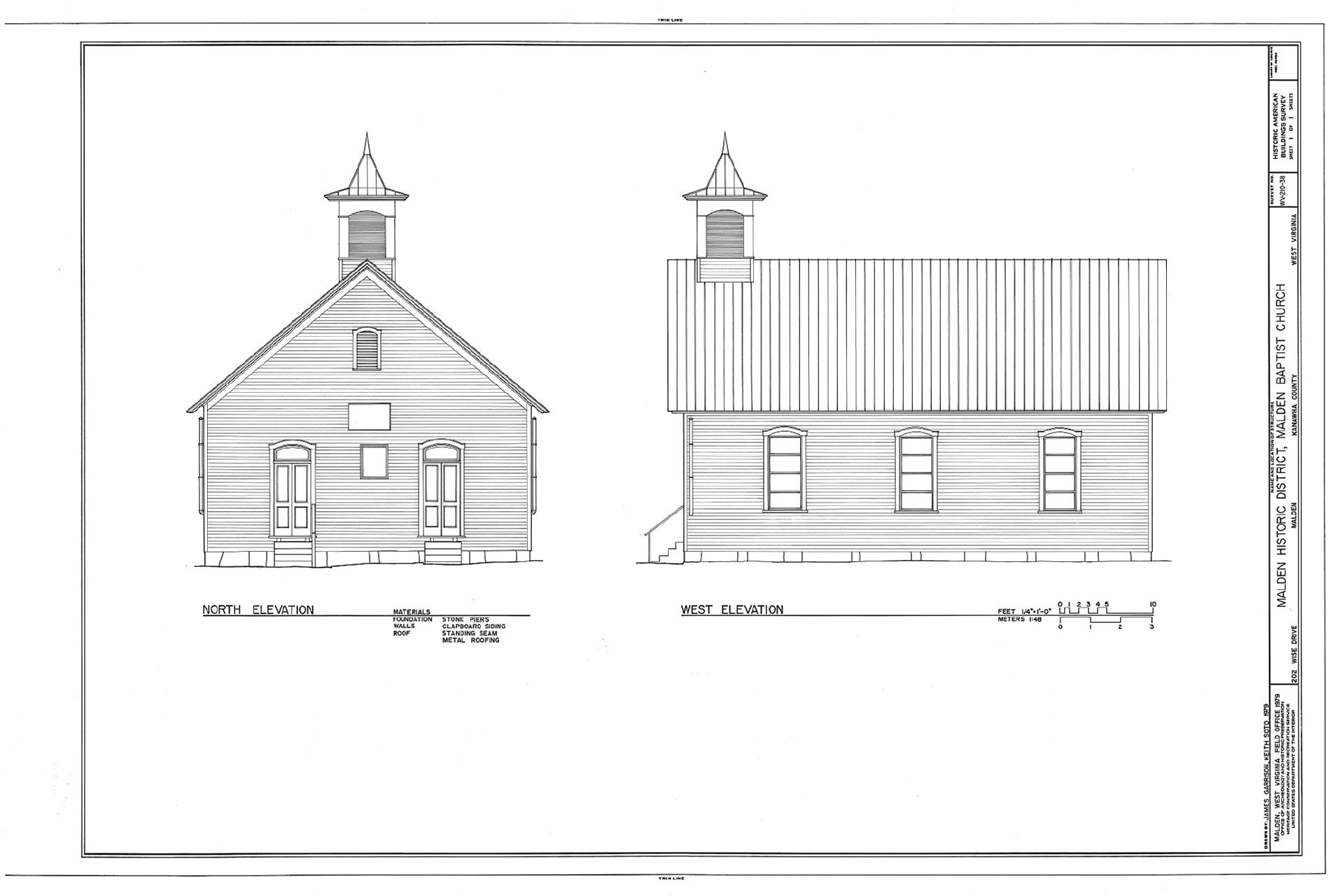 Drawing of Malden Baptist Church