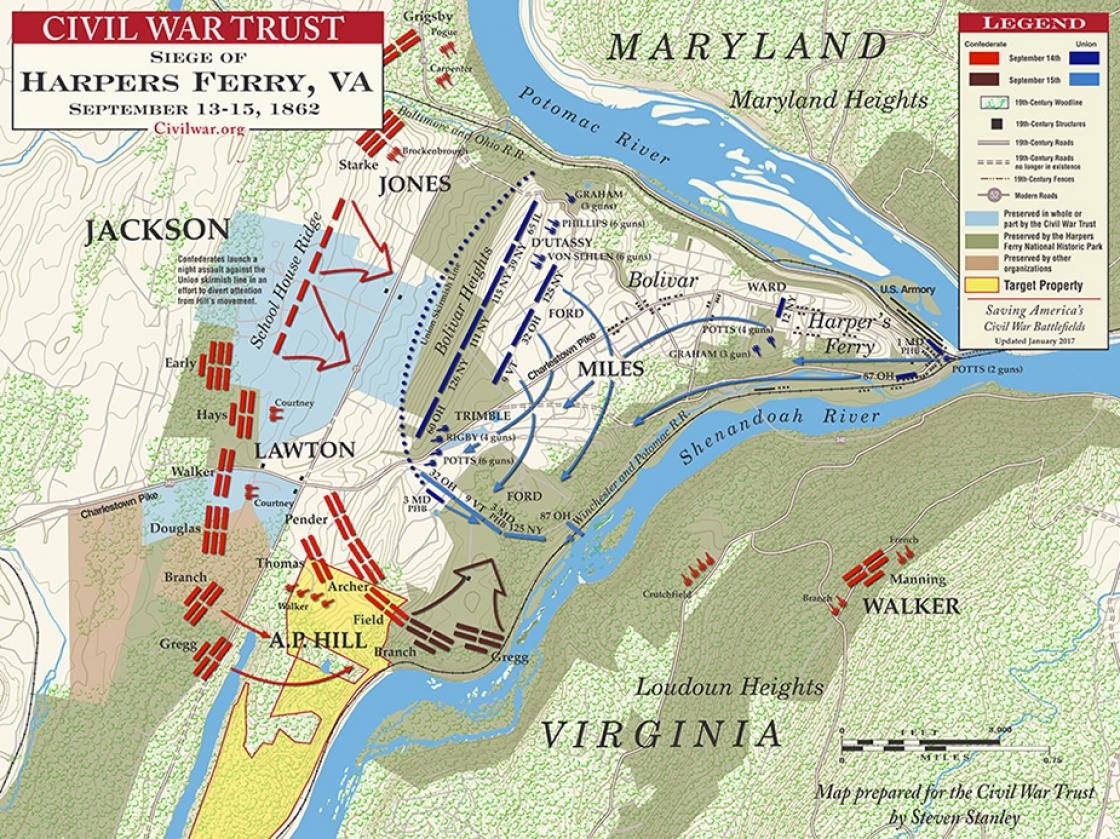 Map showing the Confederate attack on Harpers Ferry. Courtesy of the Civil War Trust.