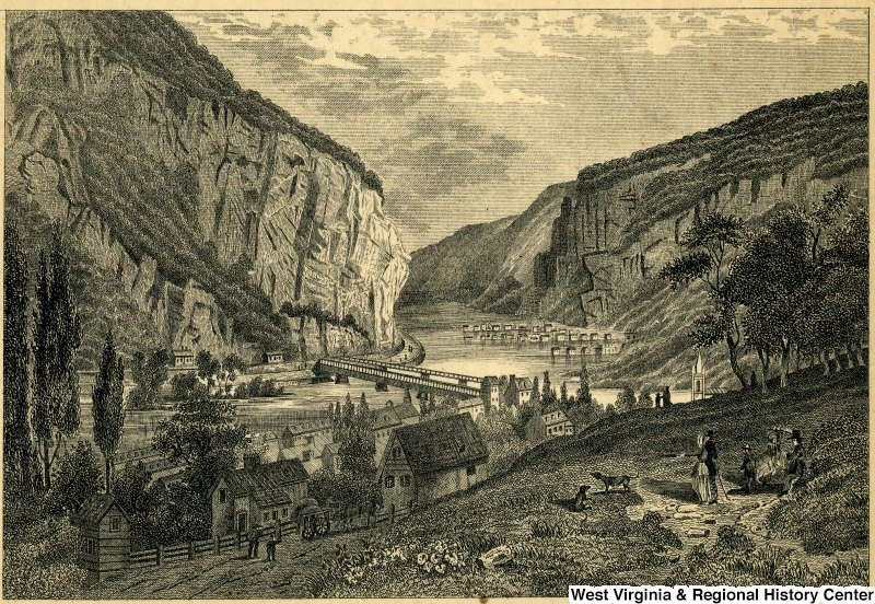 This 1858 engraving shows the geography of Harpers Ferry. The mountains, rivers, and railways were heavily contested between Union and Confederate forces. Courtesy of WVU Libraries, West Virginia and Regional History Center.