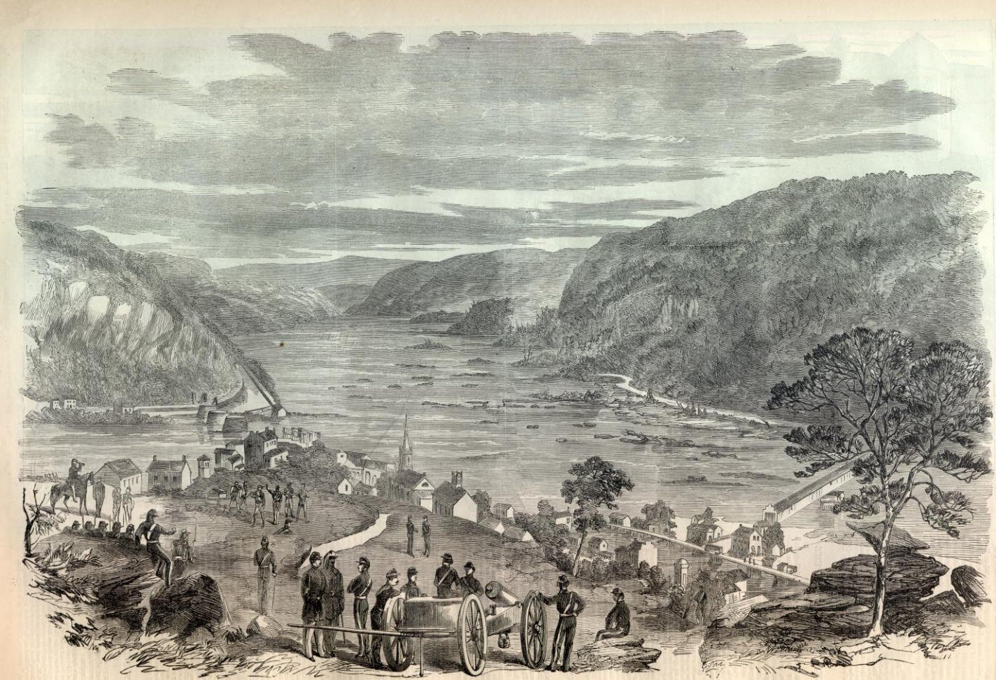 Harpers Ferry depicted under Union control in 1861. Courtesy of the Crossroads of War and NPS History Collection.