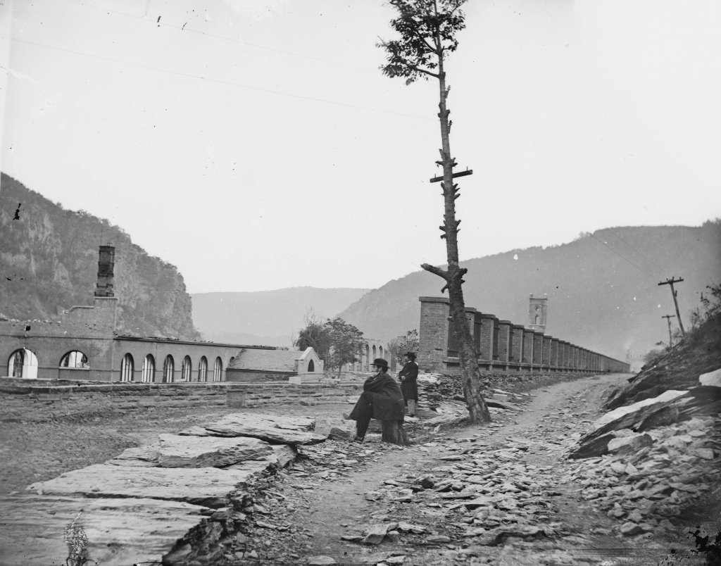 Remains of the United States Armory in Harpers Ferry, October 1862. Photo by Silas A. Holmes, courtesy the Crossroads of War and Library of Congress.
