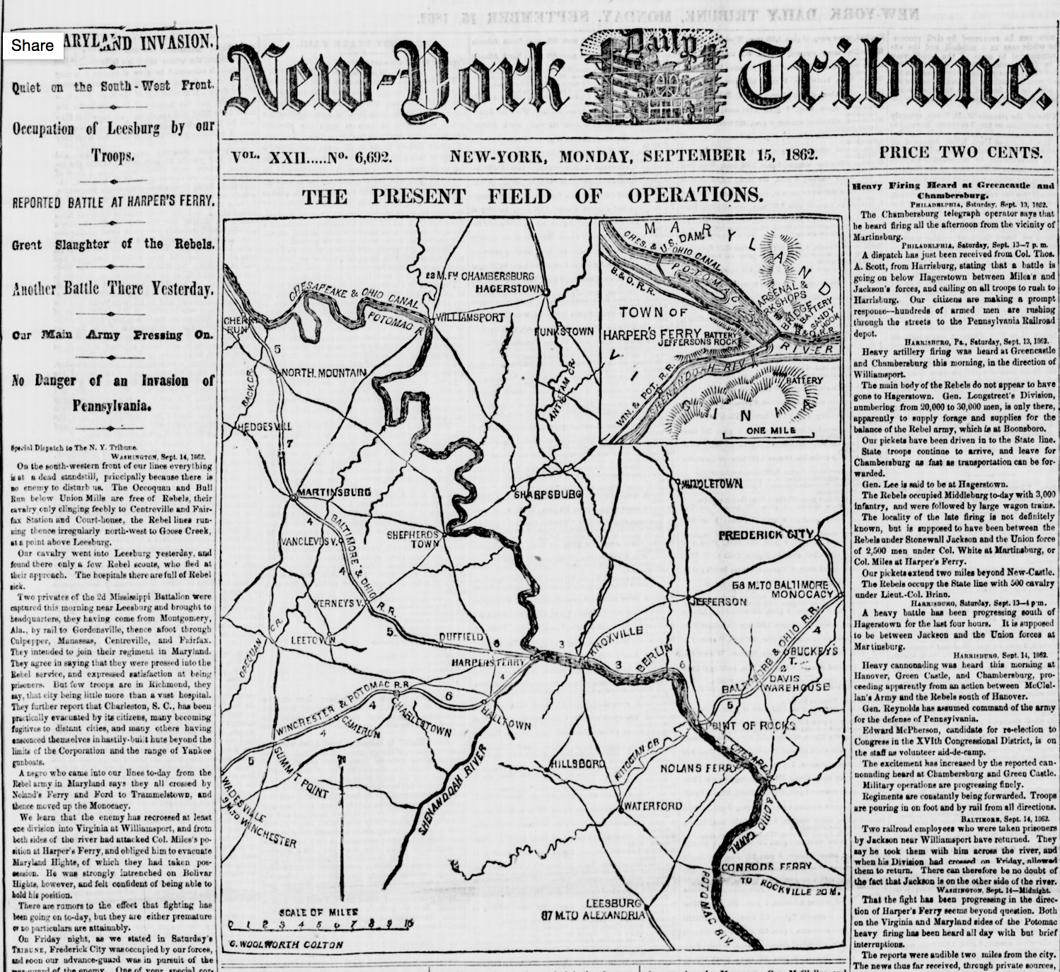 "September 15, 1862 article clipping from the New York Tribune highlighting Lee's Maryland Campaigns and ""a reported battle at Harpers Ferry."" Courtesy of the Library of Congress."