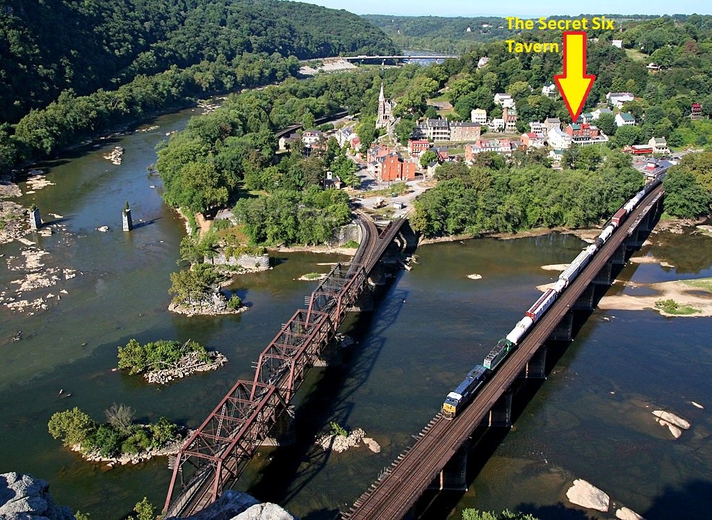 Perspective of Secret Six Tavern's location in Harpers Ferry
