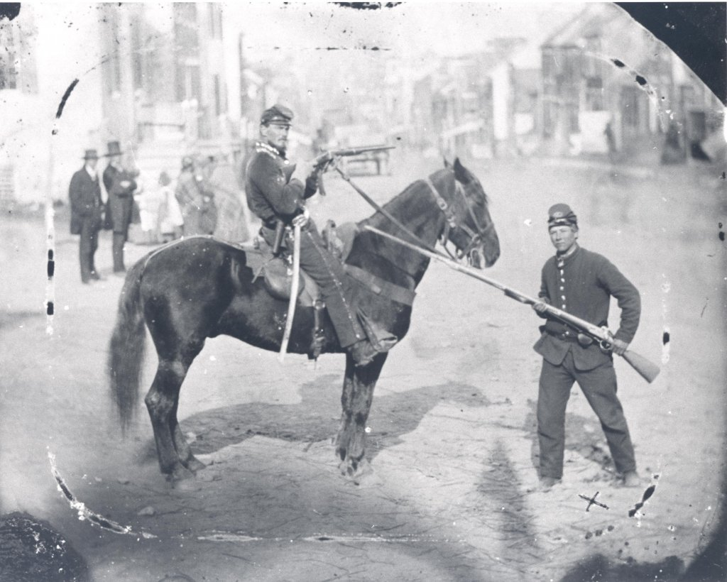 Union Major Napoleon B. Knight of the 1st Delaware Cavalry, taken on Westminster's Main Street on the morning of the battle, June 29, 1863 (U.S. Military History Institute)