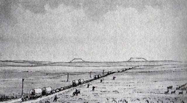 Photographer William Henry Jackson drew this sketch of the South Pass.  From the sketch, you can see the line of wagons traveling through the pass along with the Oregon Buttes in the far distance.