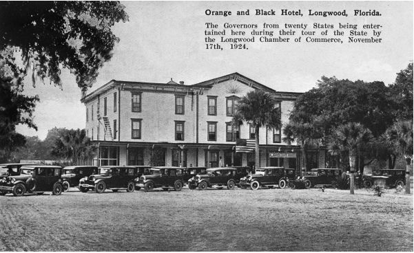 "A photo of the inn when it was called ""The Orange and Black Hotel"""