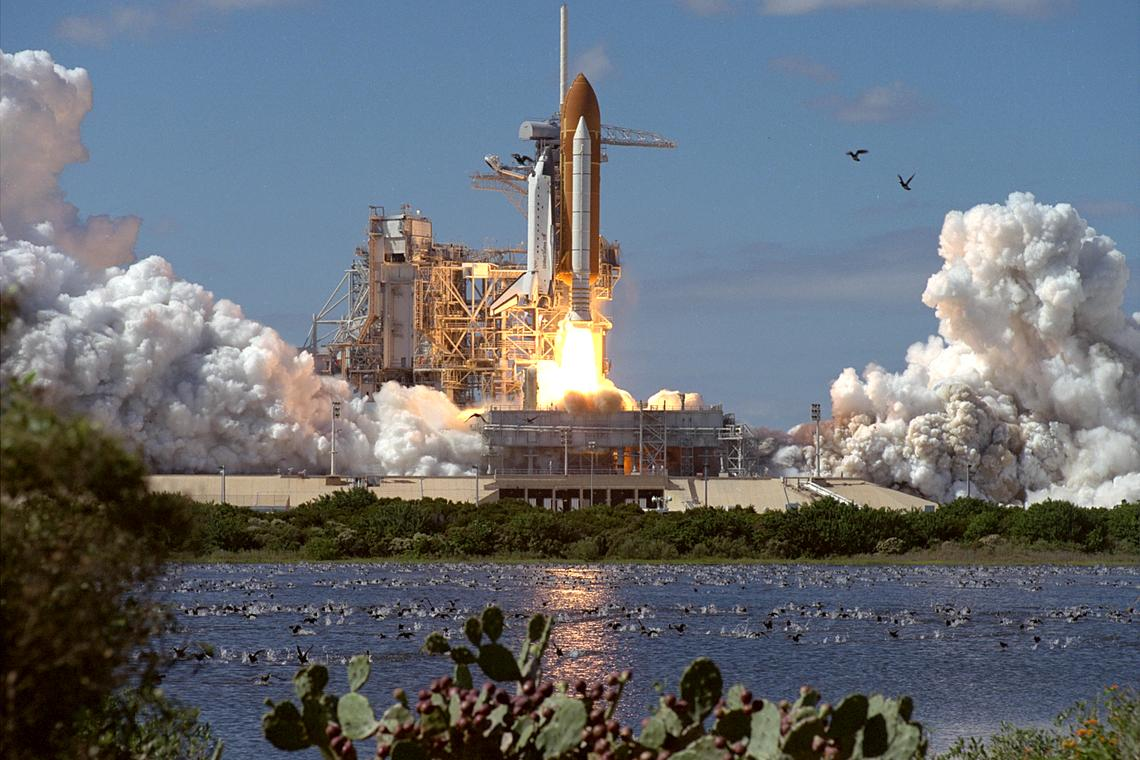 This image captures a shuttle taking off.