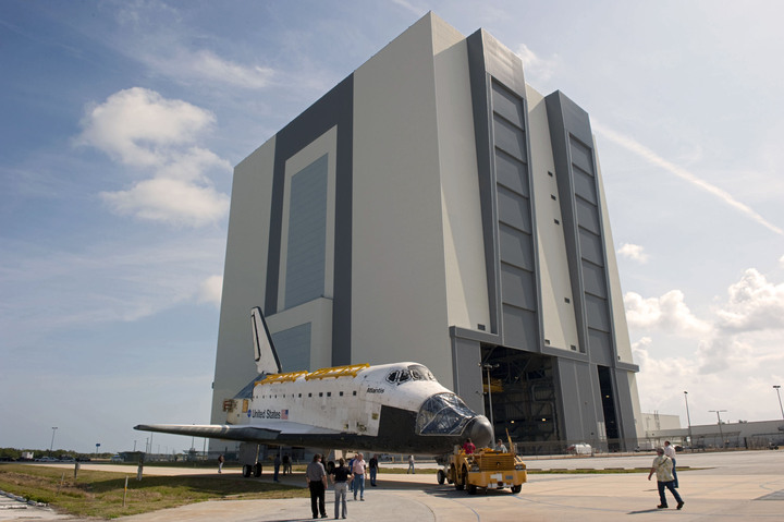 This is the space shuttle Atlantis that was towed from the Vehicle Assembly Building before being put on display at the Kennedy Space Center Visitor Complex