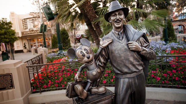 This image shows one of the most famous statues standing in Disney's California Adventure Park, of Mickey Mouse with Walt Disney. This image was found from https://disneyland.disney.go.com/destinations/disney-california-adventure/.
