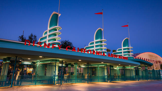 This photo shows the entrance to Disney's California Adventure Park, and was found at https://disneyland.disney.go.com/destinations/disney-california-adventure/.