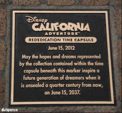 This photo shows the time capsule buried beneath Disney's California Adventure Park.