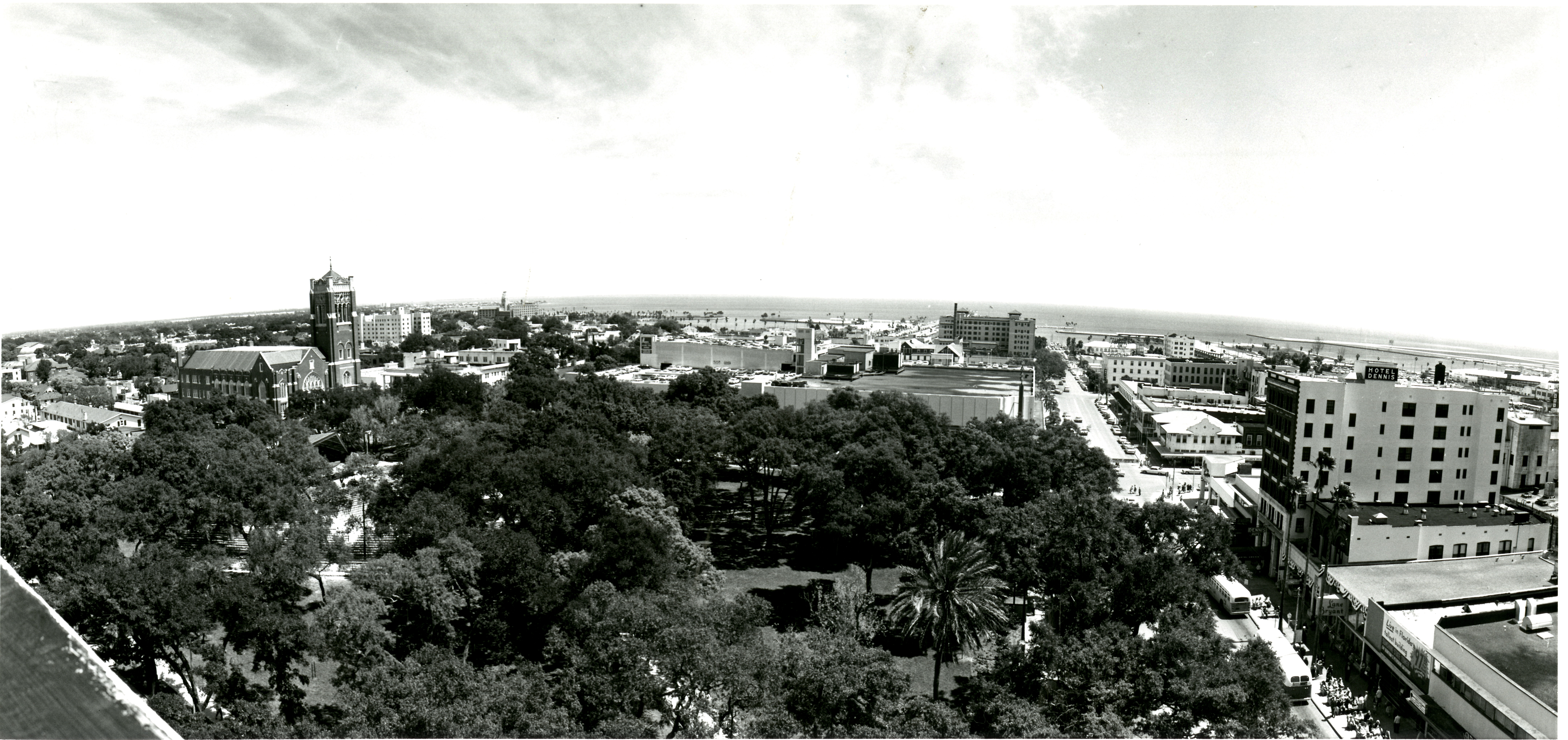 Aerial view of Williams Park in downtown St. Petersburg, Florida, circa 1965.