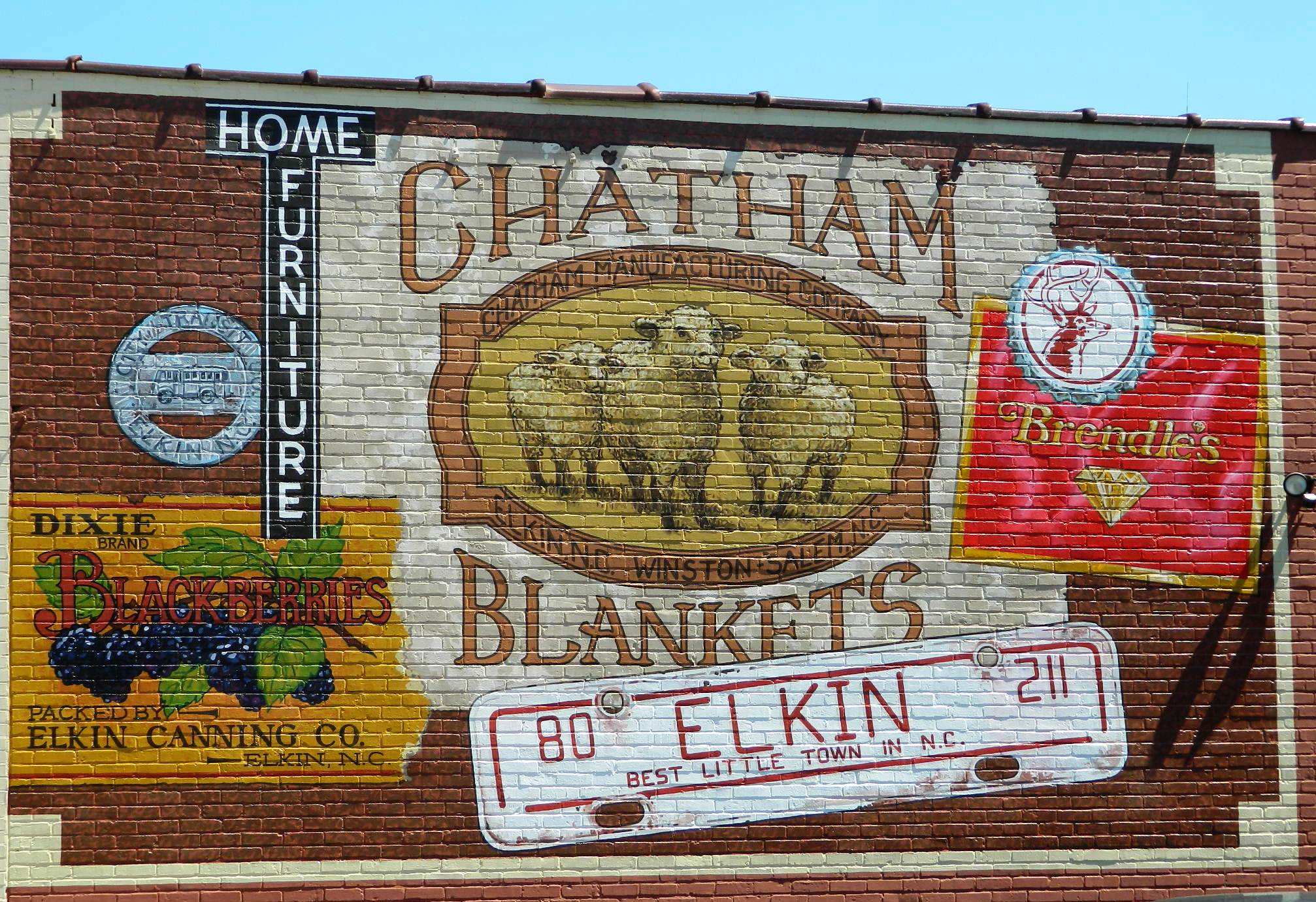 One of the many murals in downtown Elkin. This showcases businesses that were famous in Elkin from decades past.