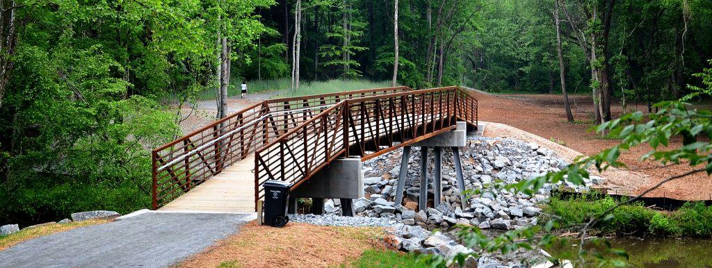 Bridges take visitors over the Big Elkin Creek in two different locations along the trail.