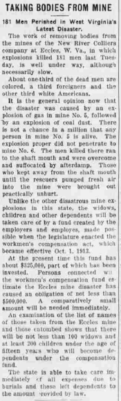 Article from the Forest Republican, Tionesta, PA, May 06, 1914, that discusses the composition of the miners along with the workers compensation for the miners' wives and children.