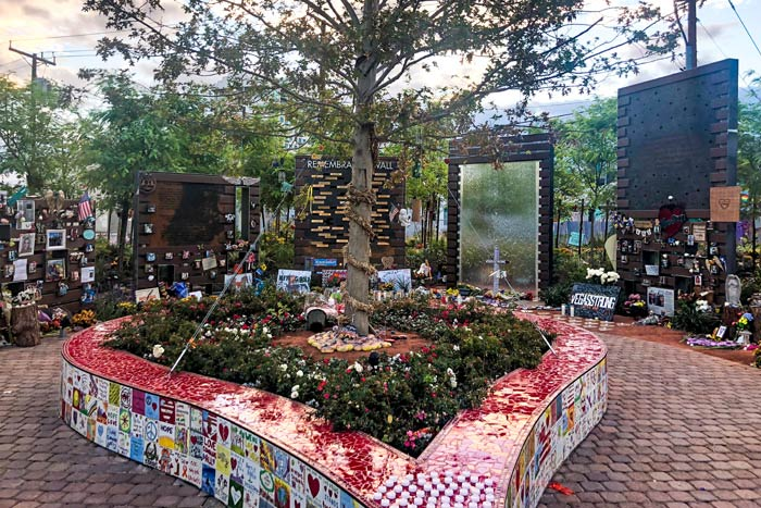 "The oak tree in the middle of the garden was donated. And portrays as the ""Tree of life"" sits in a heart shaped planter adorned with tiles made by victim's families, survivors and community members"