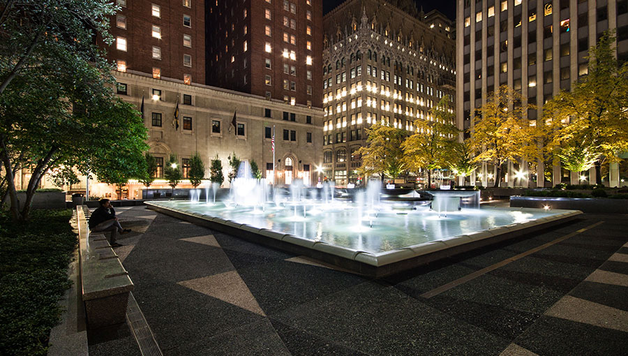 Mellon Square's famous fountain at night