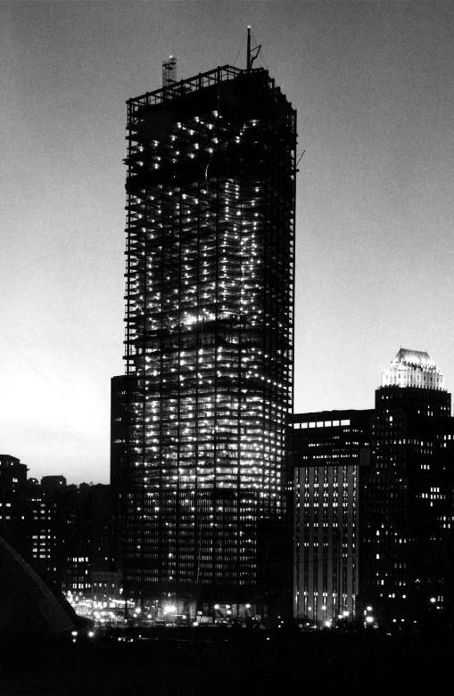 Construction of U.S. Steel Tower in 1969; Source: Brookline Connection