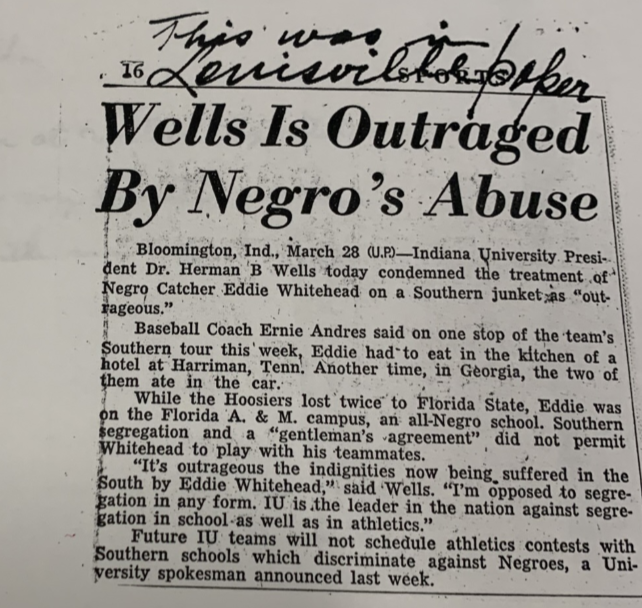 Newspaper article of the Eddie Whitehall incident, and President Wells response