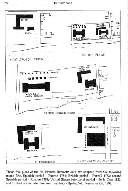 Structures of the St. Francis Barracks in different eras