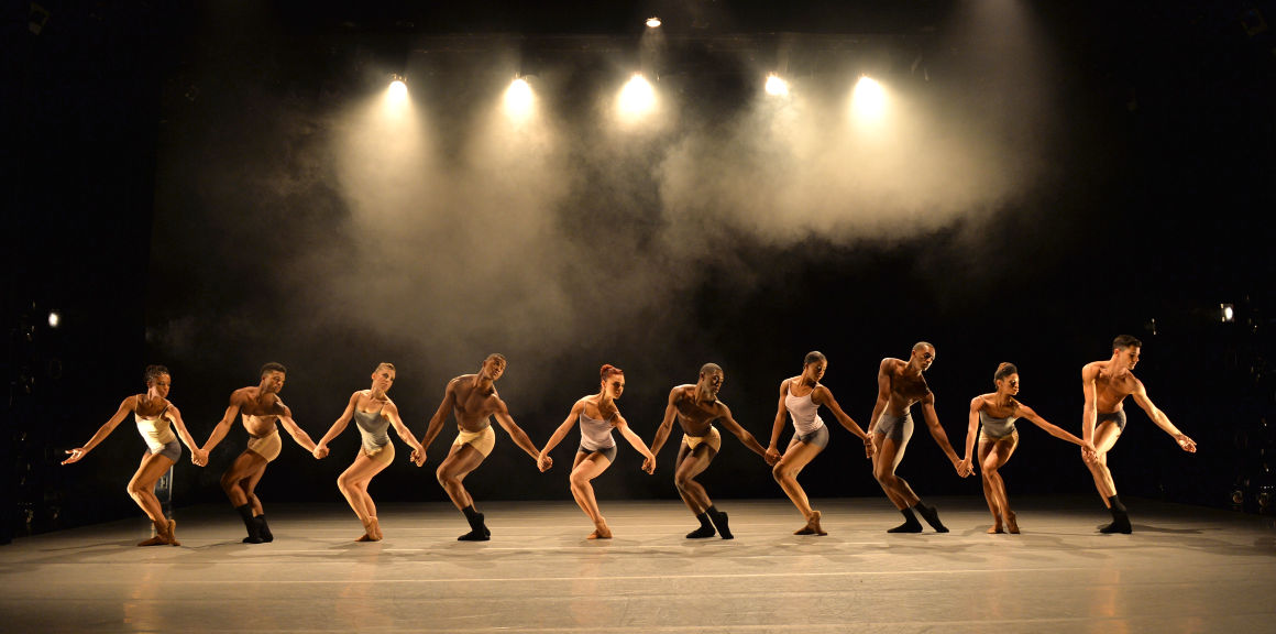 Dancers preform on the center's stage.