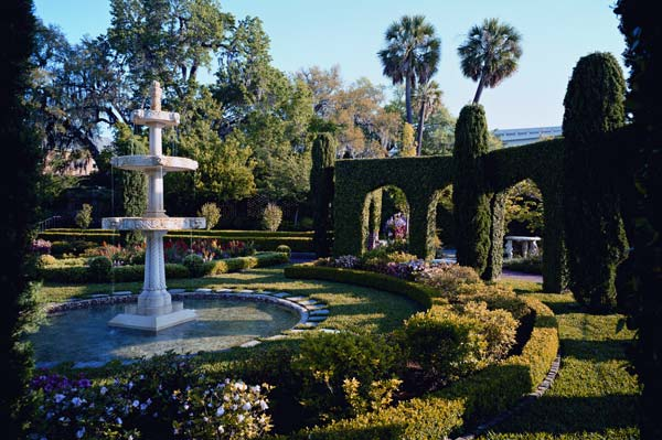 View of one of the gardens, which are located behind the museum along the river.
