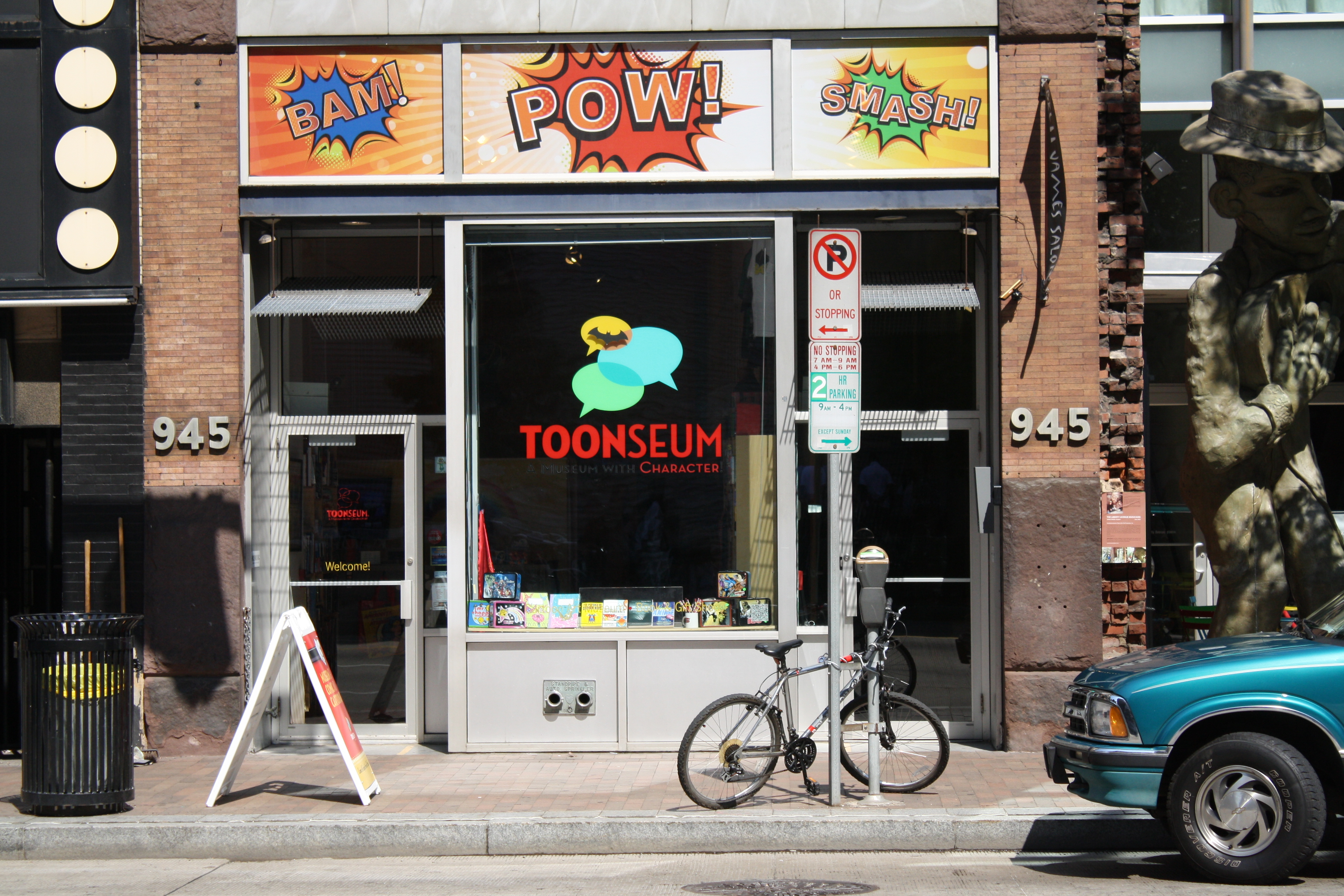 The store front entrance to the ToonSeum