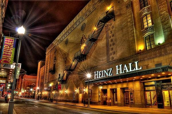 The exterior of Heinz Hall at night.