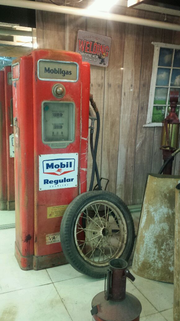 Early Gas Pump inside the San Diego Automotive Museum