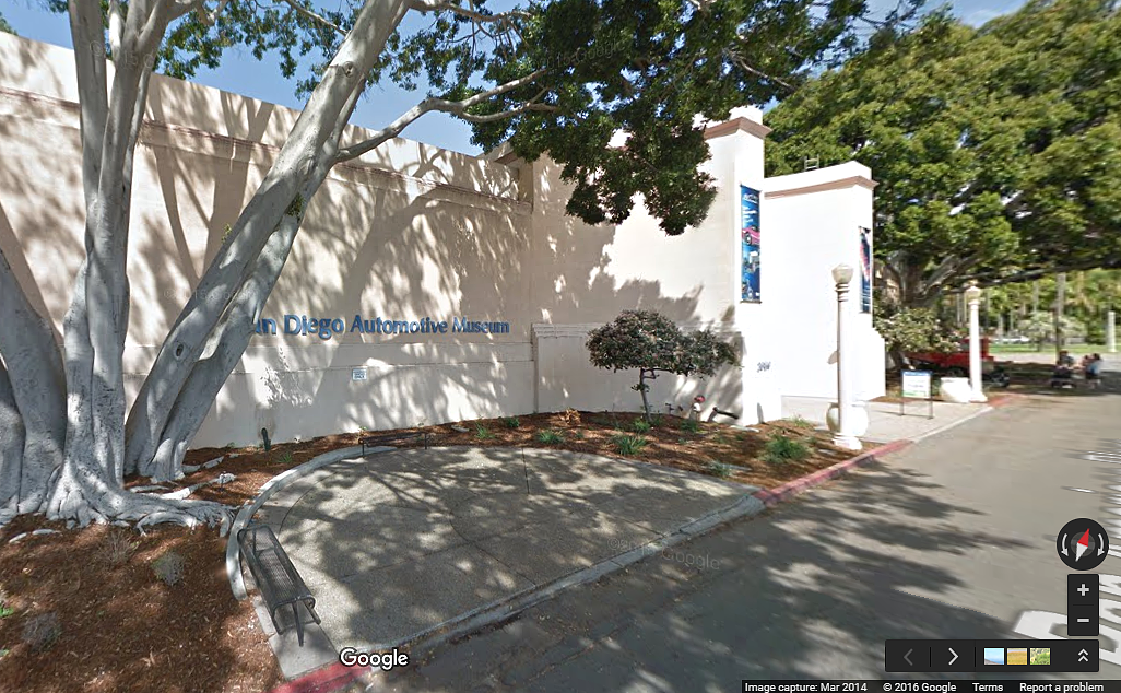 Outside of San Diego Automotive Museum, via Google Maps.