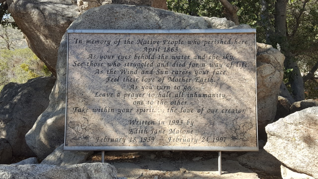 A Memorial Stone recognizing the Keyesville Massacre is located at the Nuui Cuuni Inter-Tribal Cultural Center at 2600 Hwy 155 in Lake Isabella, CA.
