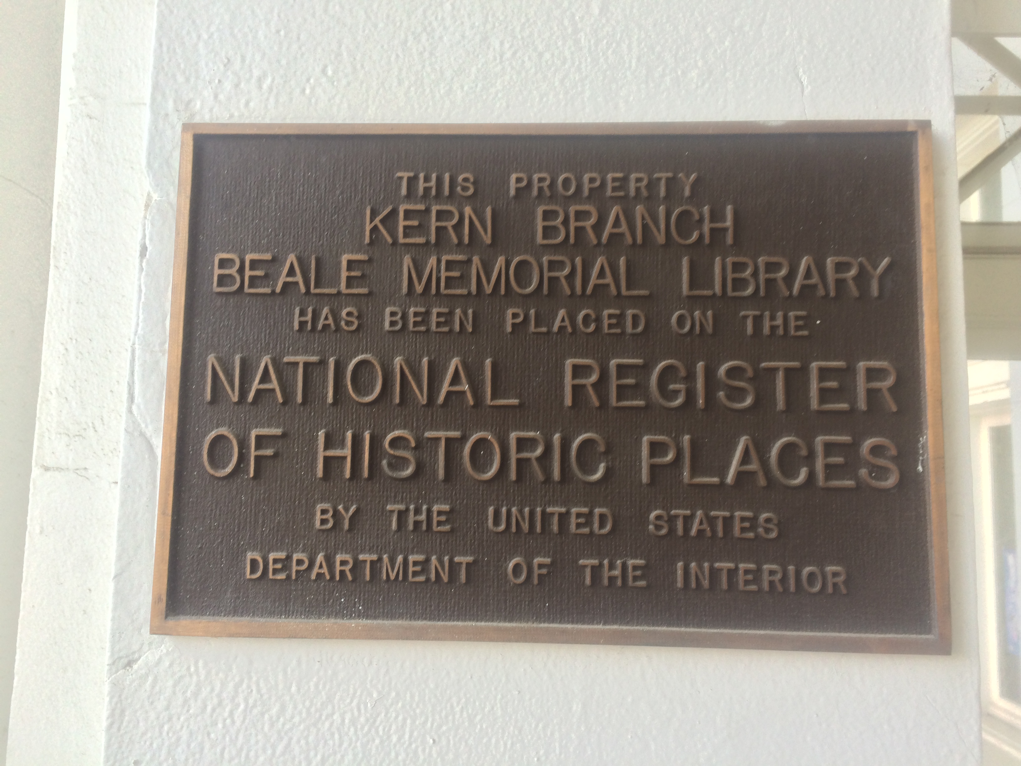 Plate marking Baker Branch Library an official historical place