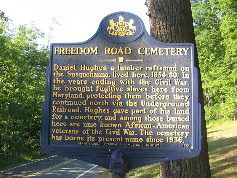 The historical marker for the Freedom Road Cemetery near Williamsport, Pennsylvania