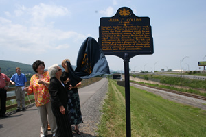 The state historical marker for Julia C. Collins is along the Susquehanna River in Williamsport, Pennsylvania, near where Collins lived and wrote.