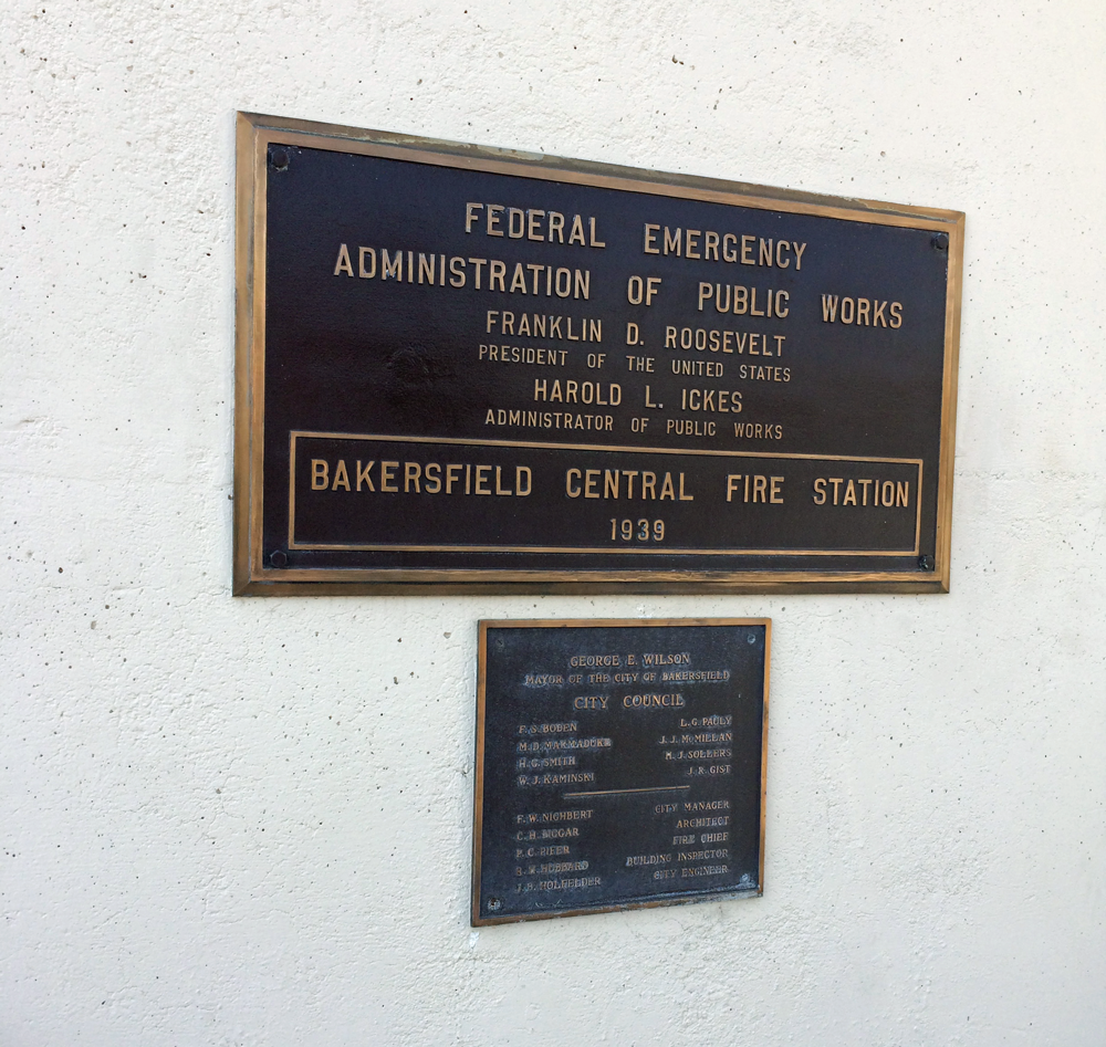 Dedication plaque, including New Deal influence.