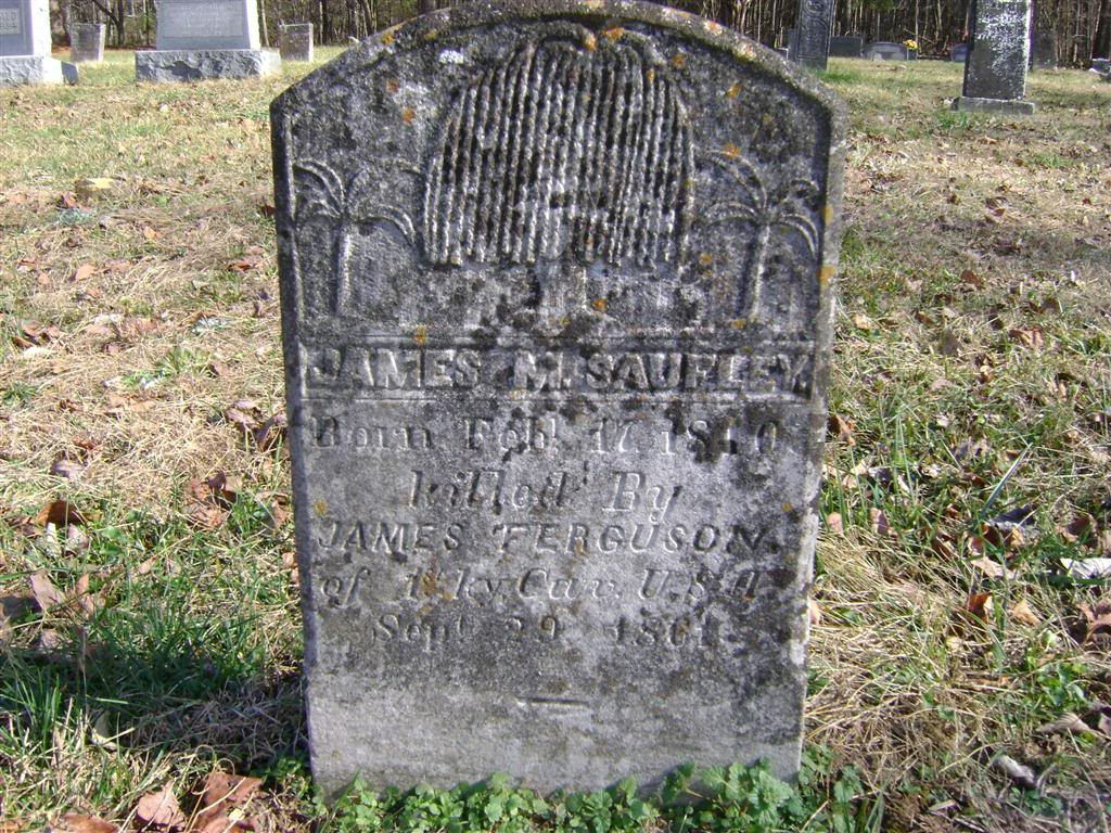 Headstone of Confederate solider, James Saufley