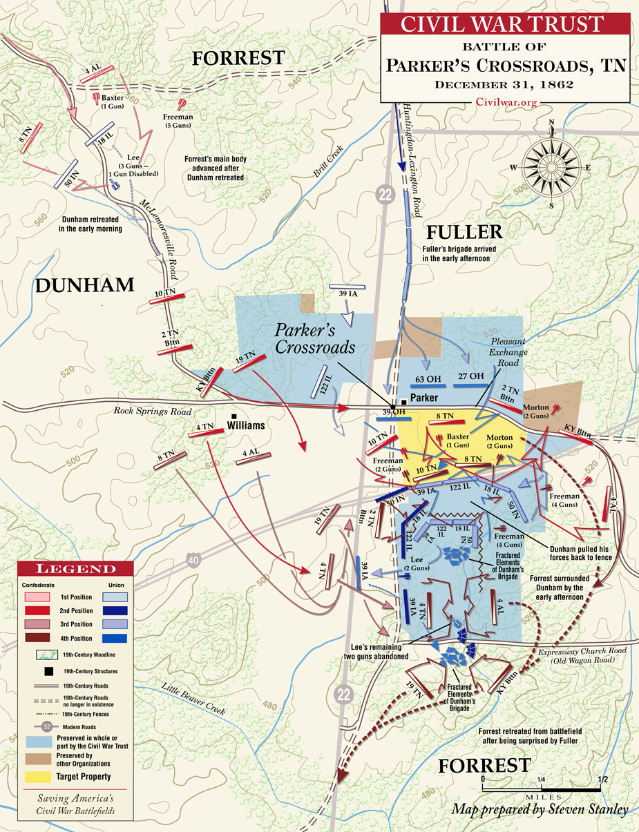 Map depicting movements during the battle and land preserved for the battlefield