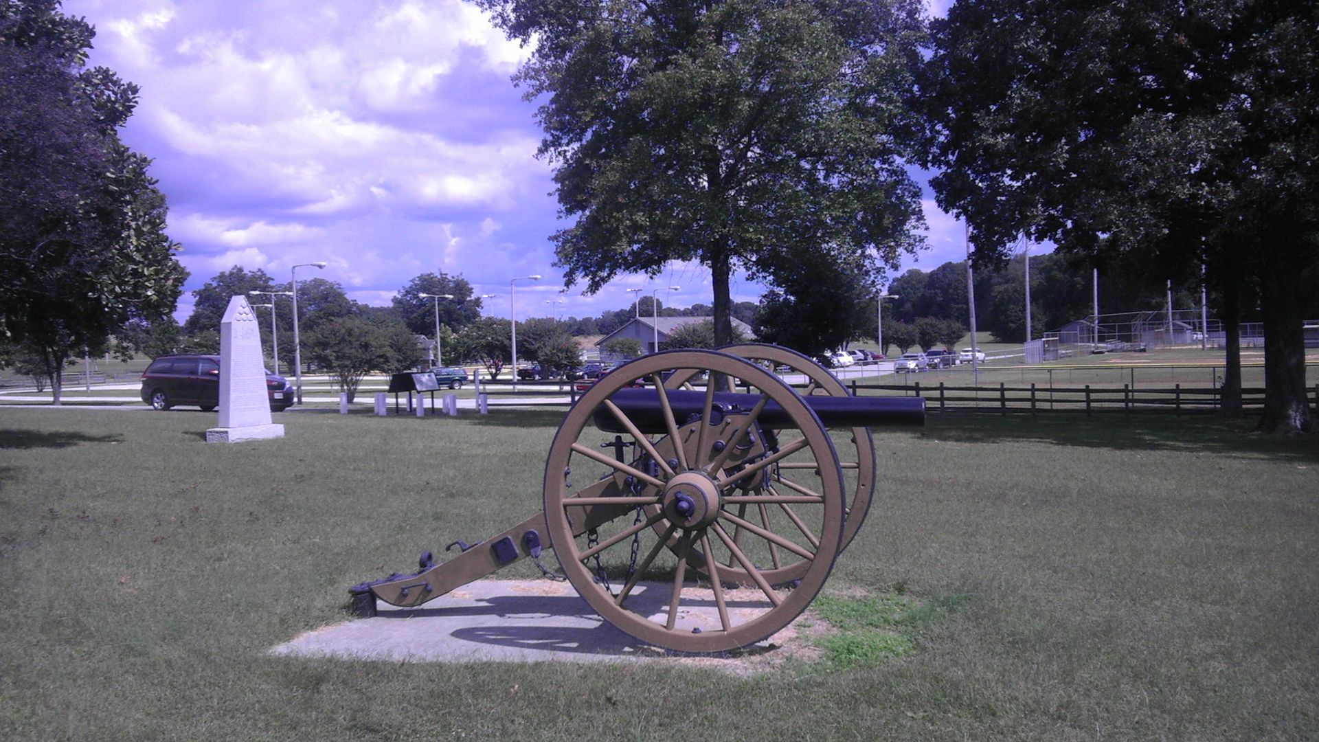 A cannon on the battlefield