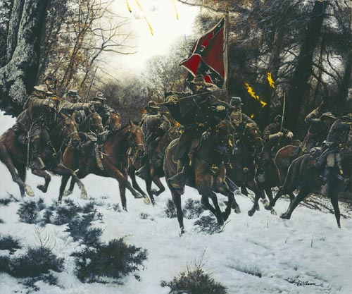 "Terry James's depiction of the battle, entitled, ""Charge 'em both way!"""