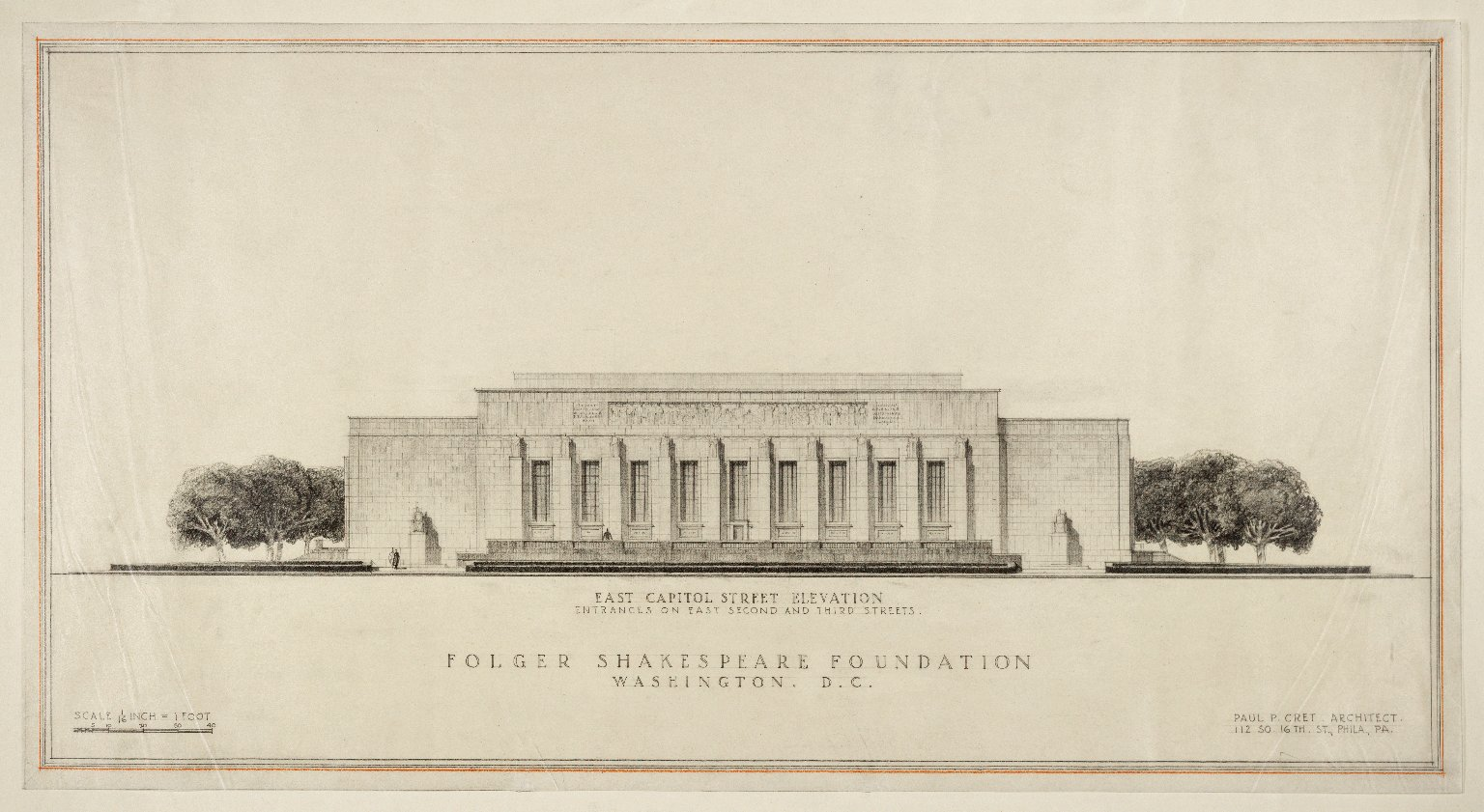 Original designs for the east facade of the Folger Shakespeare Library, early 1930s. Image by Paul Philippe Cret - http://luna.folger.edu/luna/servlet/s/xv06qy, CC BY-SA 4.0, https://commons.wikimedia.org/w/index.php?curid=41931127