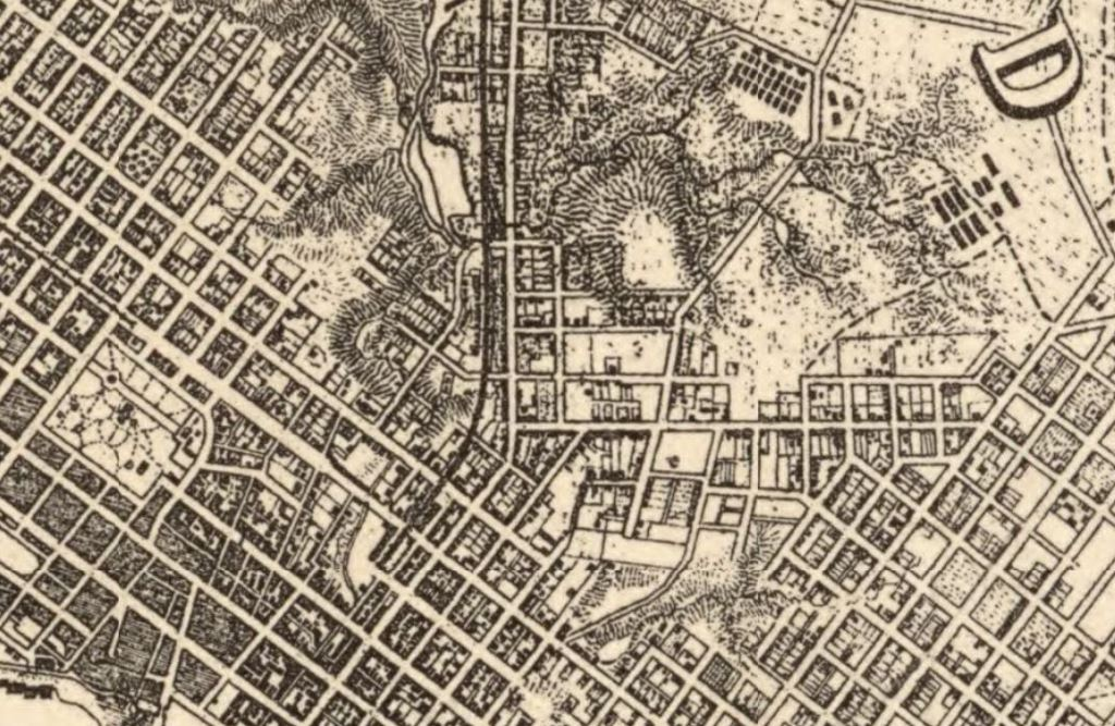 Street grids -old & new- downtown Richmond 1867, Michler & Mickie map