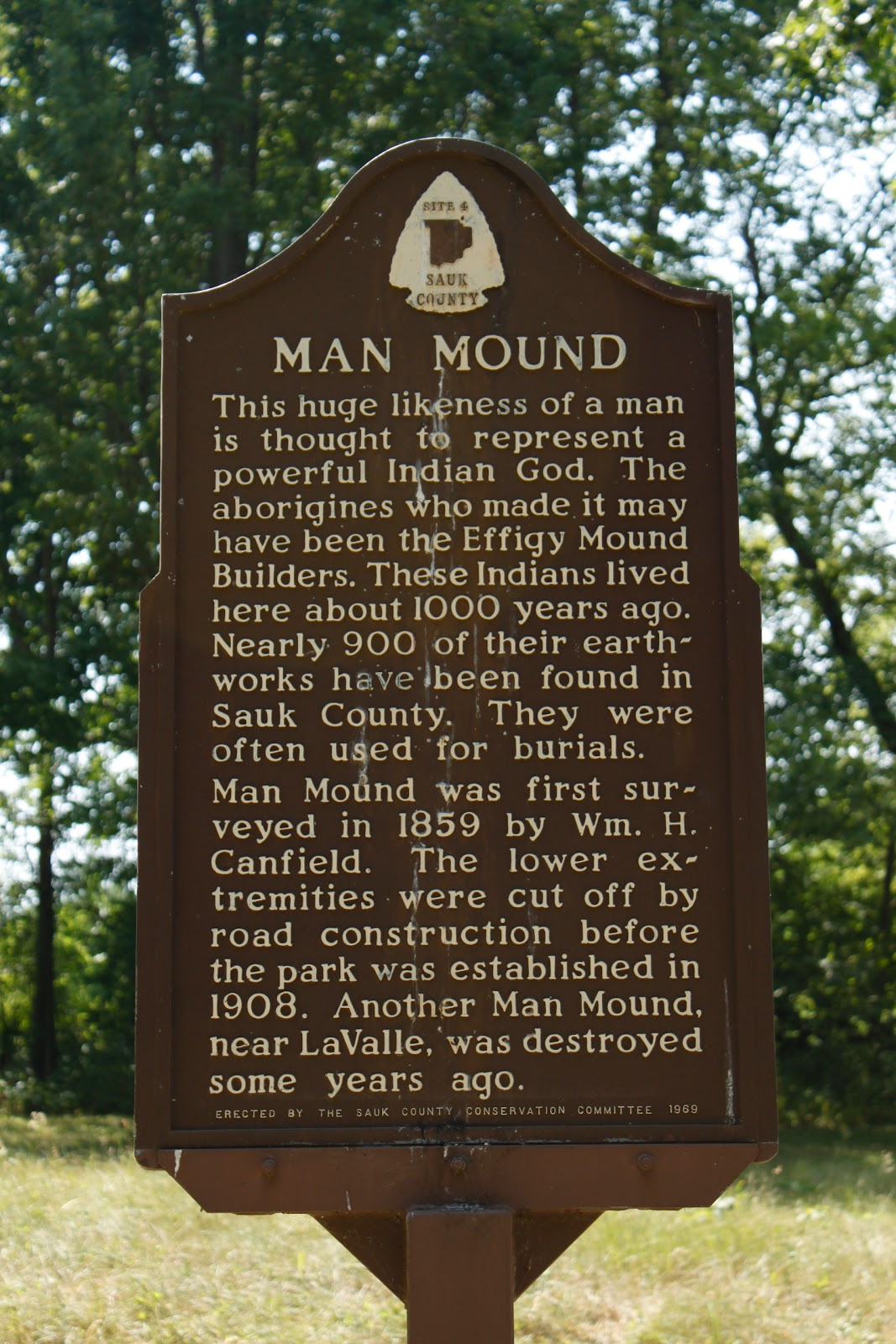 The historical marker for Man Mound.