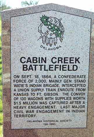 The Oklahoma Historical Society's Cabin Creek marker