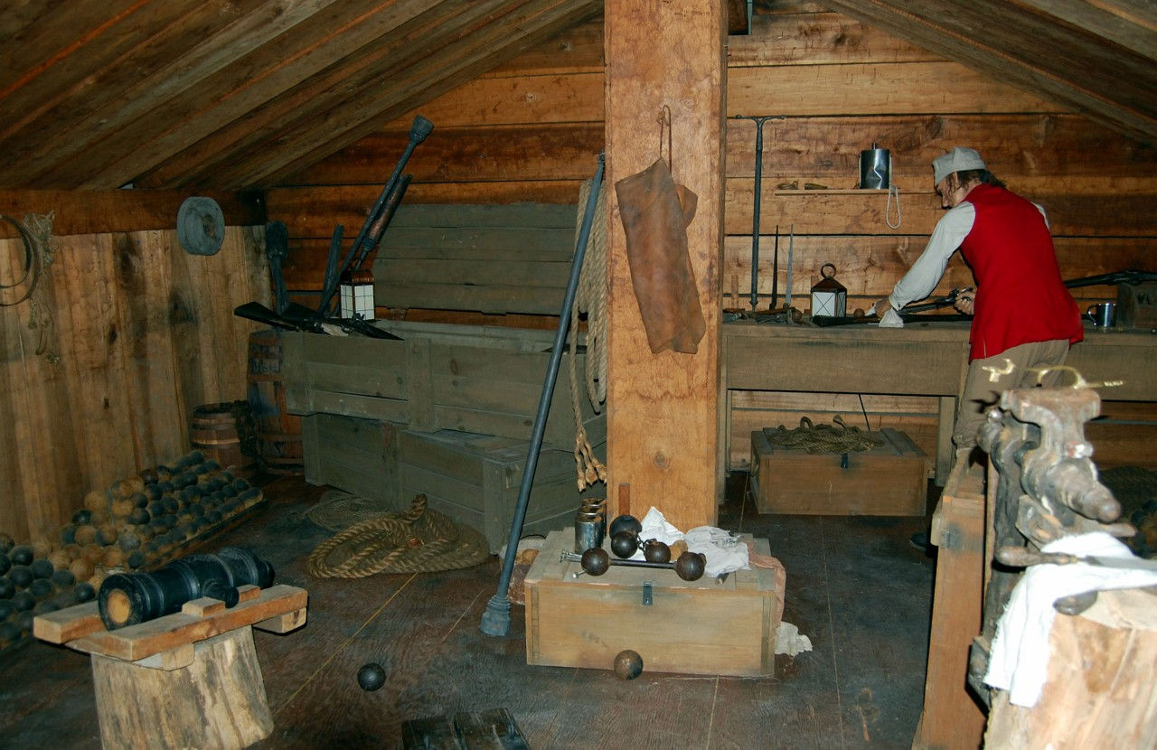 Making munitions within the museum.