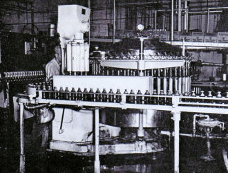 Modern machinery bottled and capped Fesenmeier beer. Date and photographer unknown. Courtesy of Goldenseal Magazine.