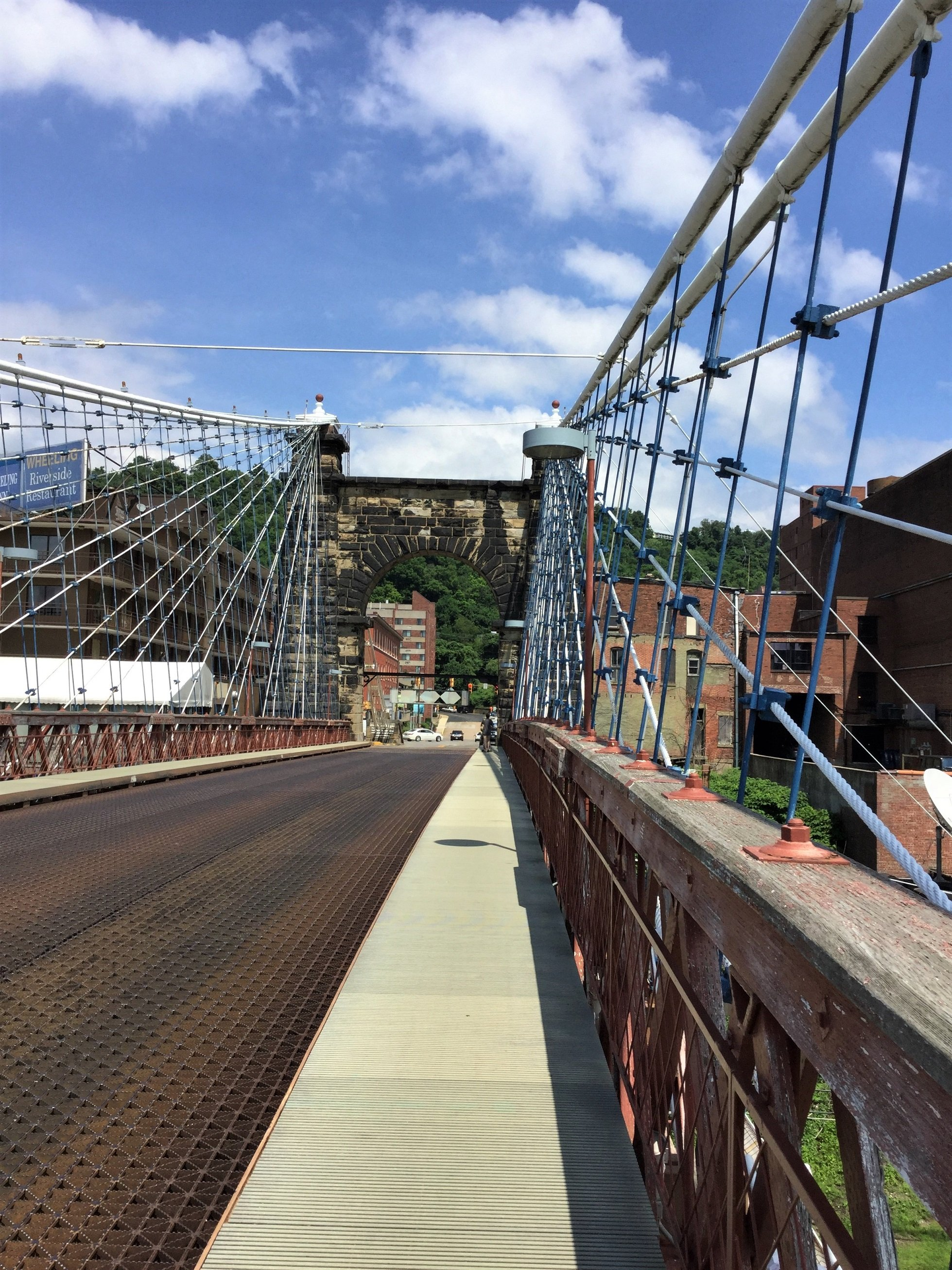 Walking the suspension bridge from Wheeling Island to the city of Wheeling.